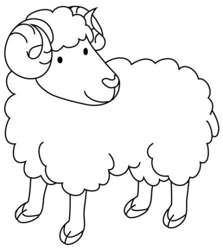 صور حيوانات للتلوين رسومات خروف سهلة للاطفال في الروضة