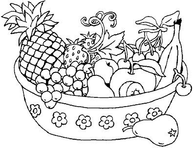 سلة فاكهة للتلوين بشكل جميل