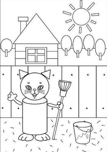 رسمة قط للتلوين جميلة