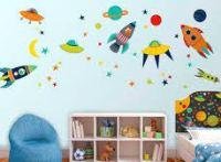 تصميمات ورسومات الفضاء الخارجي على الجدران
