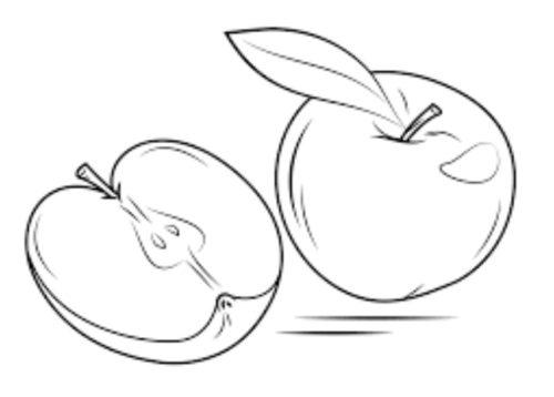 فواكه للتلوين جميلة وكيوت تفاح