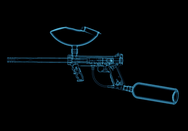 paintball gun schematics against black background