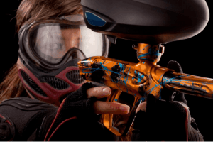 A girl with a paintball gun
