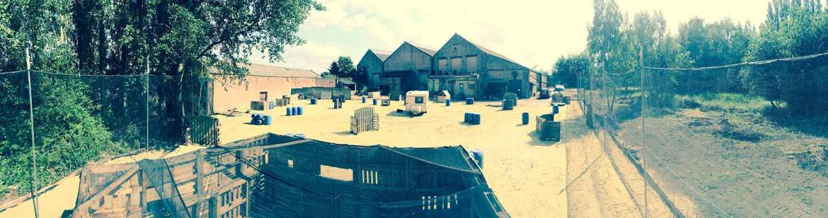 A panoramic view of the locatie of Paintball Mechelen. Paintball Mechelen - Where fun and tactics meet