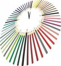 Image of coloured pencils arranged like a clock