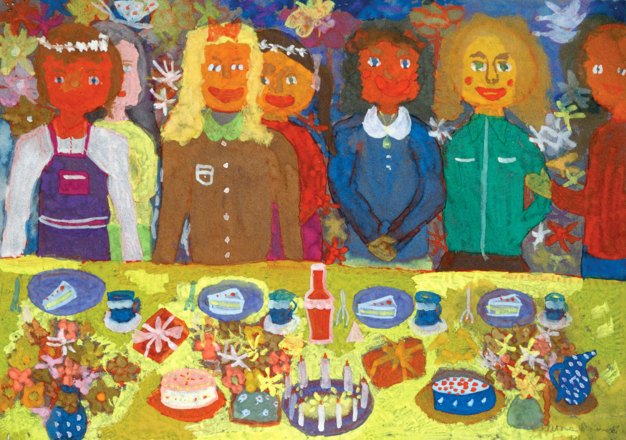 Painting of several people at a table with a birthday cake and candles