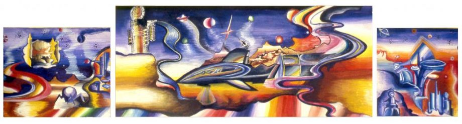 Image of 3 panoramic art pieces depicting outer space
