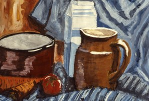 Still-life image of tomato, carrots, and milk