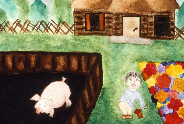 Image of Russian farmyard, showing pig in a pen and child picking flowers