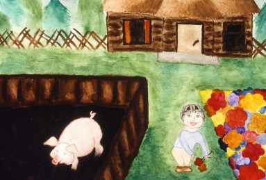 Image of Russian farmyard, showing pig in a pen and little boy in yard