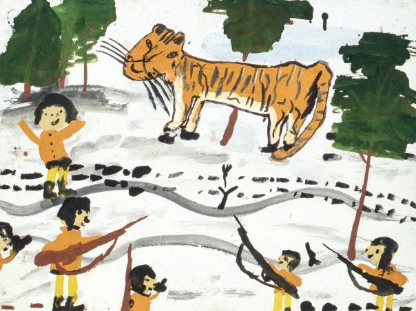 Image of men with rifles and tiger in snowscape
