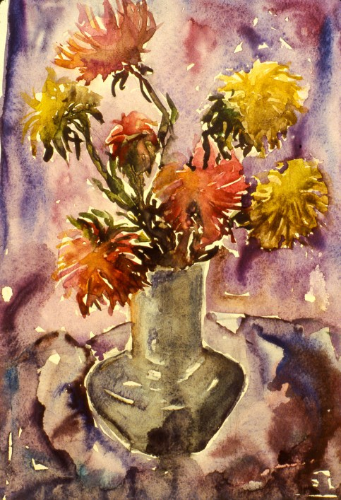 Still-life image of flowers in a vase
