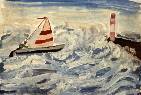 Image of small sailboat on a stormy sea