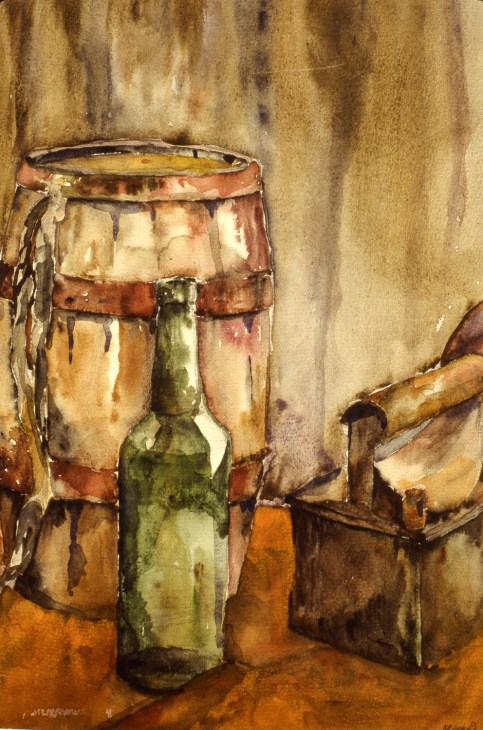 Still-life image of a bottle and a barrel