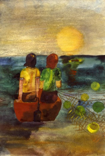 IMAGE OF Couple in Boat Viewing Sunset
