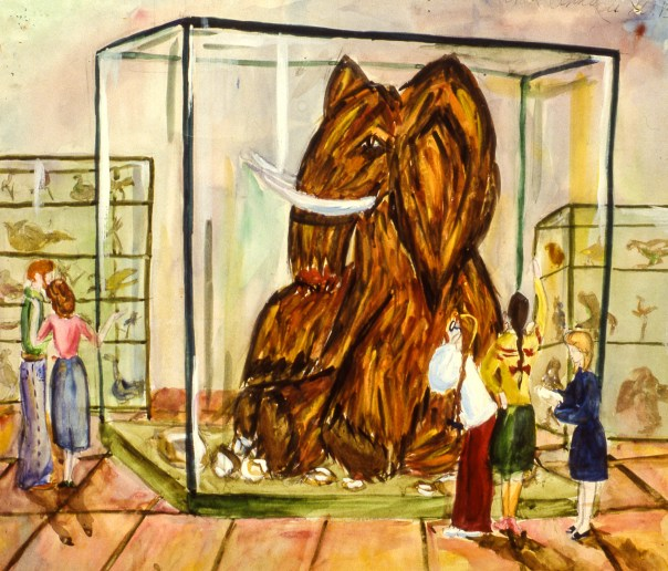 Scene of people looking at Wooly Mammoth in museum