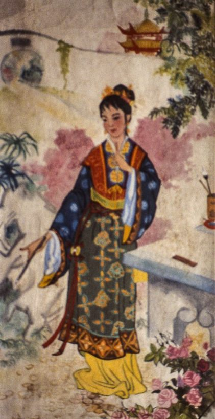 Image of young Chinese lady in garden in traditional dress