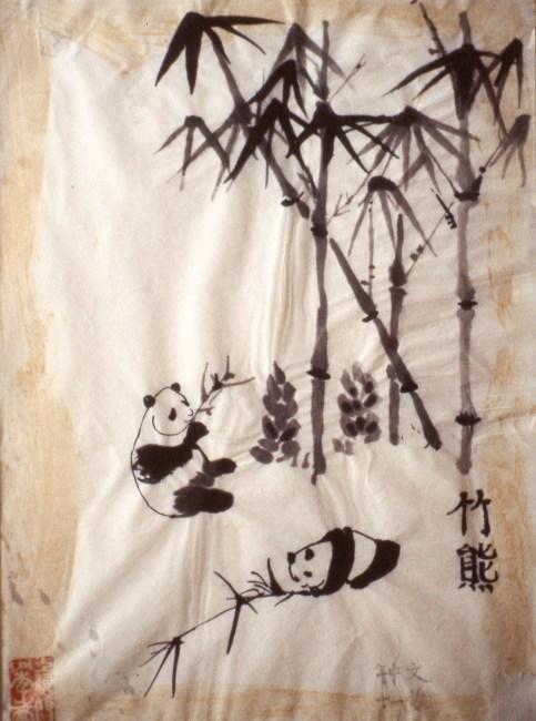 Brush painting of two panda bears eating bamboo