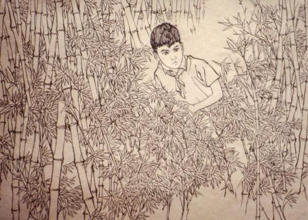 Drawing of boy in a bamboo forest