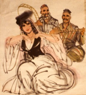 Painting of female dancer and two musicians