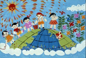 Child's drawing of children atop world globe celebrating with birds and trees
