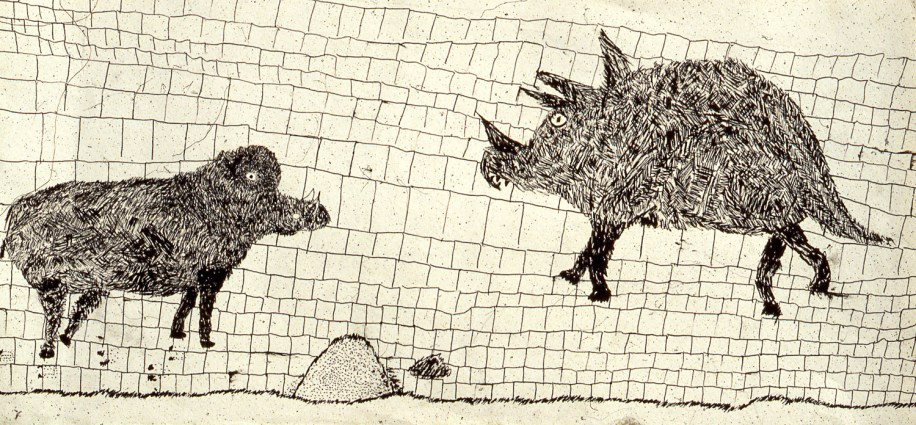Drawing of 2 boars