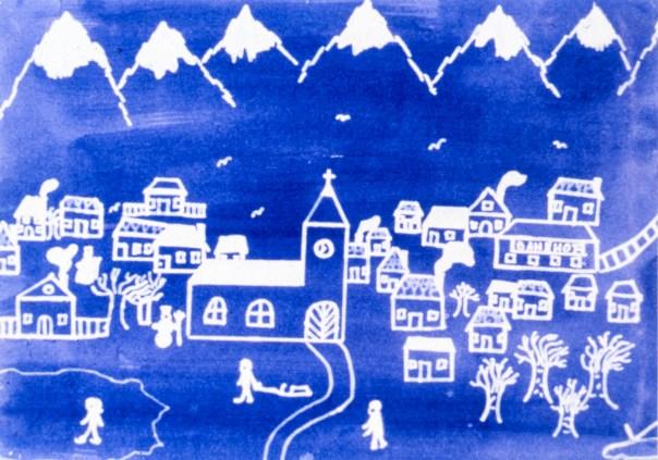 Image of winter scene - a village in the Alps