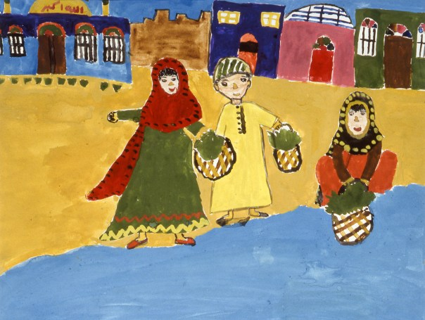 Painting of village women doing chores at the riverside