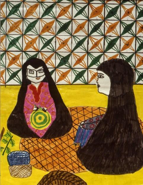 Two Bahraini women weaving baskets