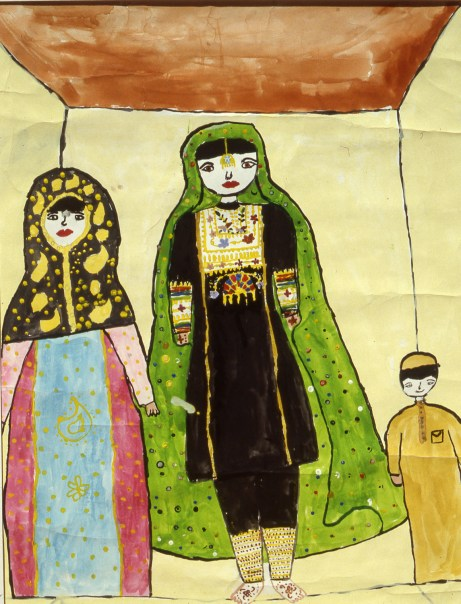 Image of two women in Bahraini national garb