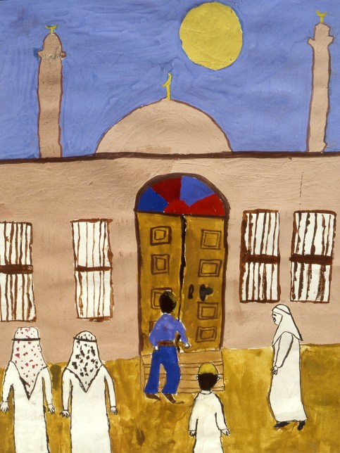 Painting of people outside a mosque