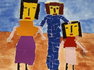 Picture of two women and a man - members of a family