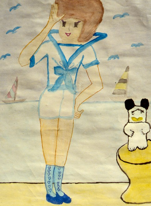Child's drawing of Sailor-Moon-type character