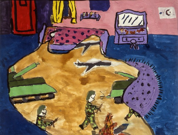 Painting of child's dream image: soldiers invading town as viewed through a hole in his/her living room floor