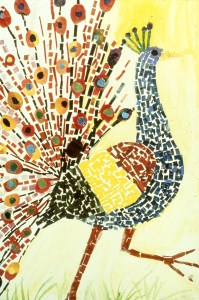 Image of a peacock in paper mosaic