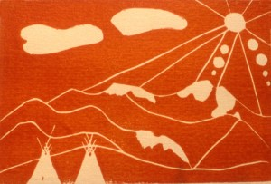 Woodblock print showing 2 Native American teepees with a range of mountains behind