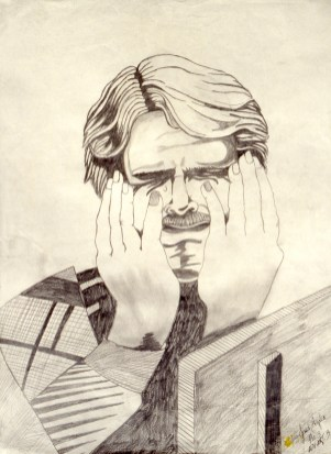 Drawing showing a man holding his face while he sries