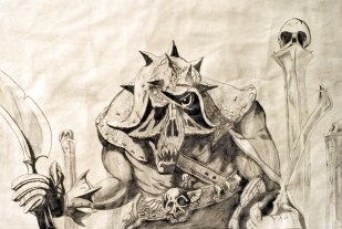 Comic-like image of monster warrior with sword
