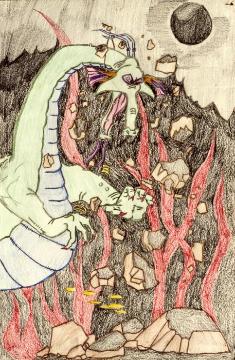 Classic fire-breathing dragon breaking rocks