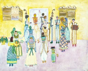 Drawings of traditional Albanian wedding ceremony