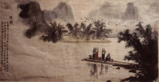 Image of 4 Chinese travelers waiting on a pier with their belongings