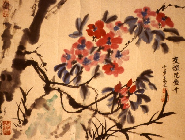 Painting of bright red blossoms among tree branches