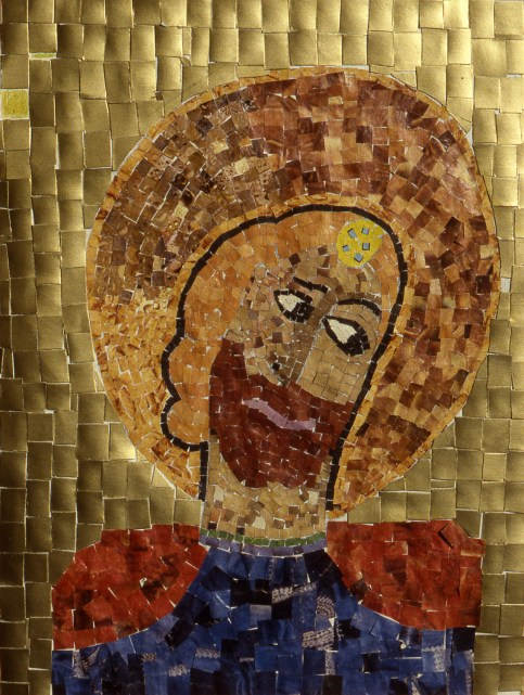 Image of a mosaic Head of Christ made from pieces of paper rather than tile