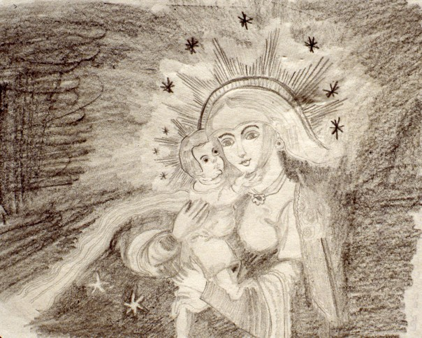 Drawing showing Virgin Mary and child Jesus