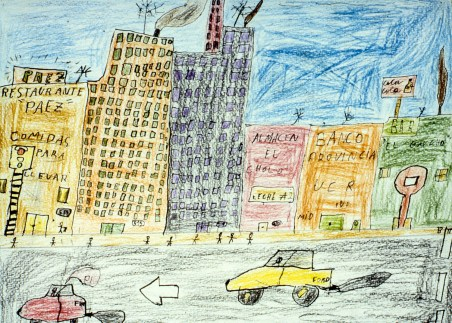 Child's drawing of a city street with traffic