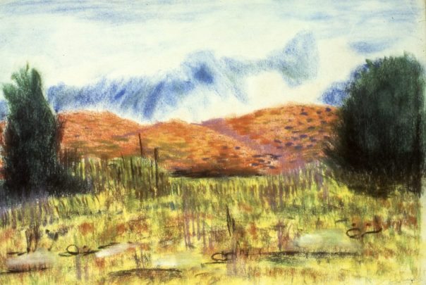 Painting of low-lying hills with trees and bushes in foreground