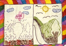 2 different drawings: one showing an airplane dropping a bomb on a city; the other depicts trees , mountains, birds and sunshine