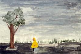Image of figure in raincoat walking in the rain