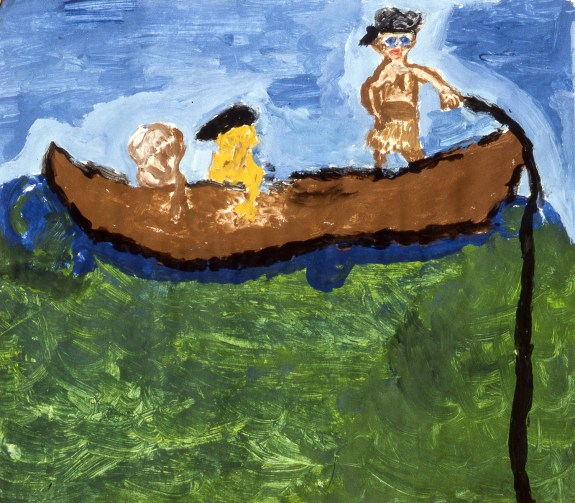 Image of 3 me3n in a canoe or boat at the tiller, steering