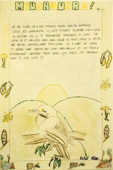 Image of page from travel journal with illustrations of animals